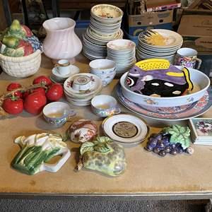 Lot # 45 - Large Assortment of Porcelain Dishes, Unique Kitchen Decor