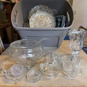 Lot # 49 - Vintage Ornate Clear Glassware Punchbowl Juicer and Much More