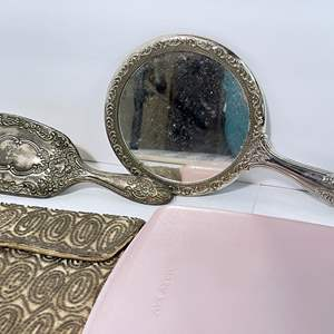 Lot # 57 - Mirror and Brush Set, Vintage Ladies Personal Kit, Purse and Heat Pad