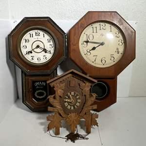 Lot # 60 - (3) Wall Clocks (Elgin, Umain and German Cuckoo Clock)