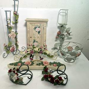 Lot # 62 - A Collection of Rose Decor, Candle Holders and Jewelry Box