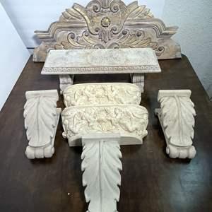 Lot # 65 - Cornices, Wood Trim, Ornate Shelves, Miniature Garden Bench