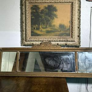 Lot # 67 - Ornate Wood Frame, Painting and Wood Hanging Mirror