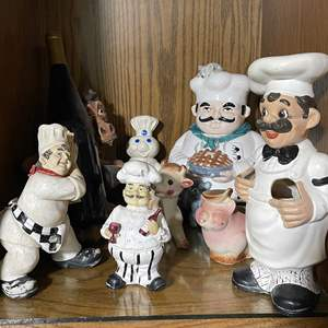 Lot # 75 - Fun Chef Statues, Cooke Jar and Wine Holder