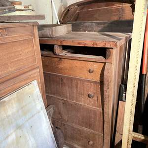 Lot # 97 - Refinishers corner, dressers, tables, legs, desk, break front and more. (Marble not included)
