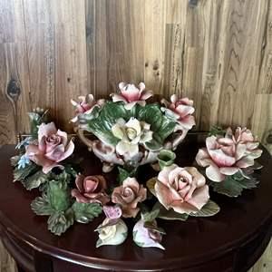 "Lot # 117 - ""Nuova Capodimonte"" Italian Porcelain Rose Candle Holders Set"