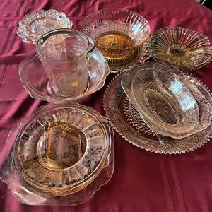 Lot # 124 - Beautiful Assortment of Modern and Pink Depression Glass Serving Ware