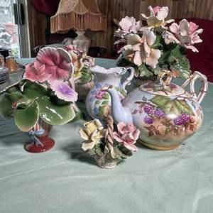 Lot # 126 - Jean Pouyat Limoges Tea Pot, Nuova Capidomnte Italian Porcelain, Floral Pitcher