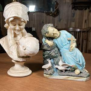 Lot # 127 - Adoring Mother Bust, Saintly Statue