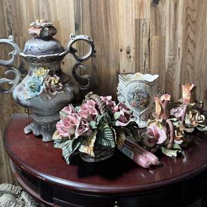 Lot # 128 - Italian Porcelain Rose Decor and Victorian Scene Vase