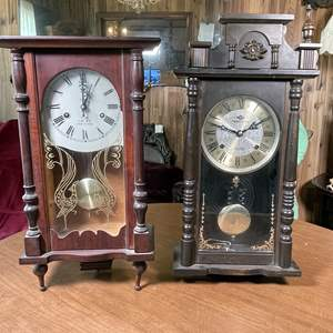 Lot # 141 - Vintage Key Wound Wall Clocks, Takeda and Polaris
