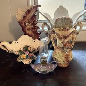 Lot # 157 - Ornate Vintage Vases and Lamp