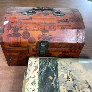 Lot # 177 - Vintage Mirrors, Jewelry Box with Costume Jewerly and Vintage Photo Album