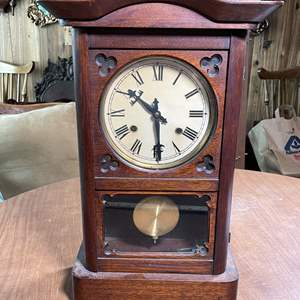 Lot # 178 - Vintage Key Wound Wood Wall or Mantle Clock