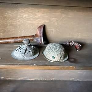 Lot # 180 - (2) Vintage Decorative Child's Helmet and (1) Dagger