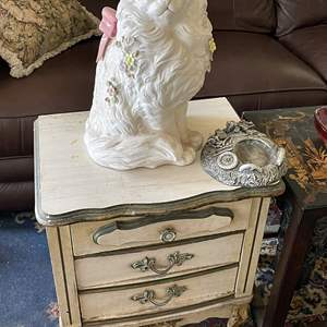 Lot # 183 - Small Chest, End Table and Ceramic Cat