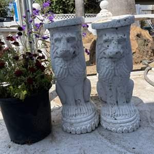 Lot # 194 - Concrete Lion Statues and Potted Plants