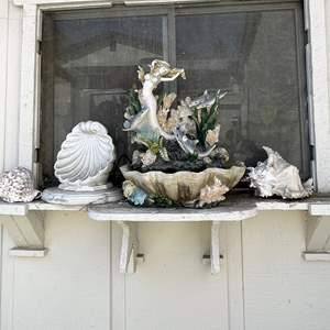 Lot # 197 - Mermaid Fountain and Seashells and Sculpture