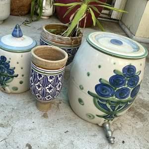 Lot # 200 - (2) Vintage Ceramic Water Crocks, (2) Ceramic Planters