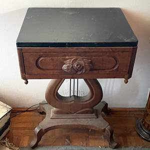 Lot # 201- Victorian Lyre Harp Table With Marble Top