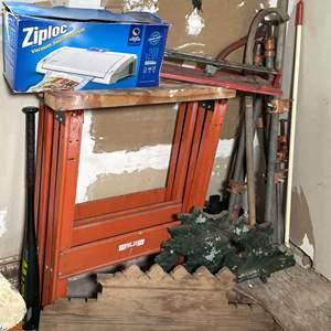 Lot # 217- Wood Molding, (2) Saw Horses, Pipe Clamps, Bat, Vacuum Sealer and More!