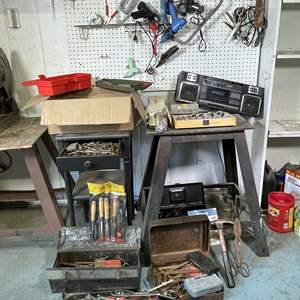 Lot # 218- LARGE Tool Lot and Shop Stereo