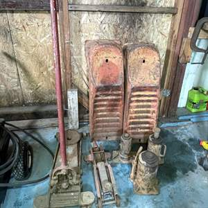 Lot # 223- Untested (5) Jacks and (1) Vehicle Ramps