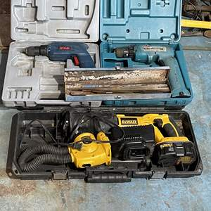 Lot # 225- (2) Electric Drill Both Missing Battery, (1) Dewalt Reciprocating Saw