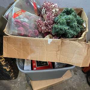 Lot # 95 - (2) Boxes Full of Christmas Decorations and (1) White Xmas Tree
