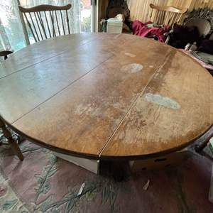 Lot # 131 - Wood Dining Table With Drop Down Leaves