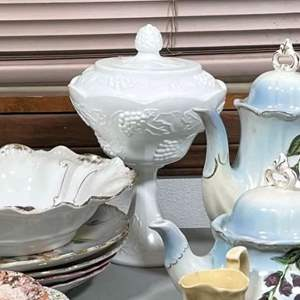 Lot # 161 - Milk Glass footed candy dish and Porcelain items