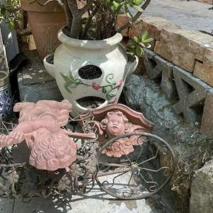 Lot # 215- Ceramic Planter with Succulents, Palm Tree, Plant Stand and Terracotta Angels