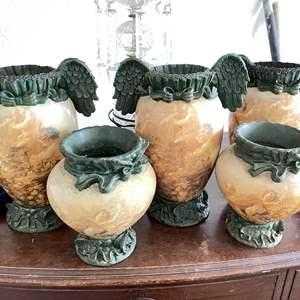 Lot # 237 - (5) Interesting Winged Matching Vases