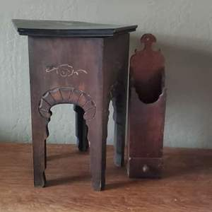 Lot # 6 - Vintage Stool and Mail Holder