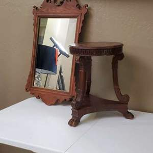 Lot # 15 - Vintage Solid Wood Stool and Mirror