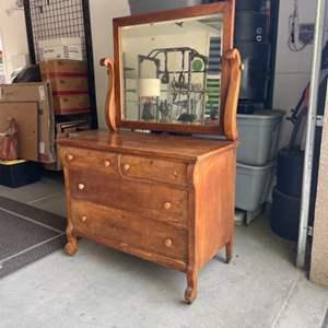 Lot # 17 - Vintage Solid Wood Dresser and Mirror