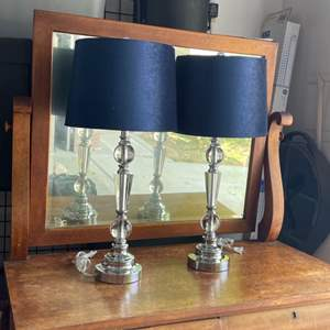 Lot # 23 - Modern Pair of Table Lamps w/blue shade