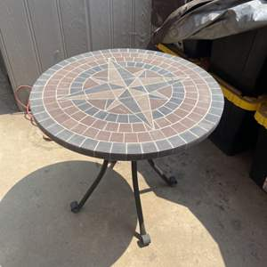 Lot # 32 - Metal Patio Table with Ceramic Tile Top