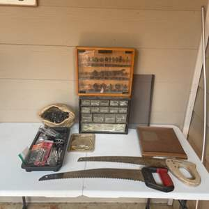 Lot # 66 - Wood Working Tools, Hardware and Storage