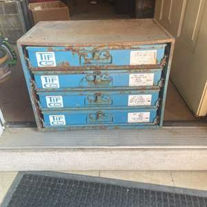 Lot # 71 - Metal sliding Drawer Cabinet Full of Hardware