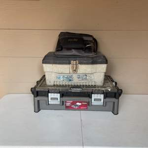 Lot # 75 - Nail bags and Tool Boxes full of Hardware