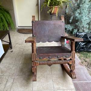 Lot # 82 - Mexican Spanish Style Rocking Chair Venadillo Wood & Leather (Matches Lot # 81)