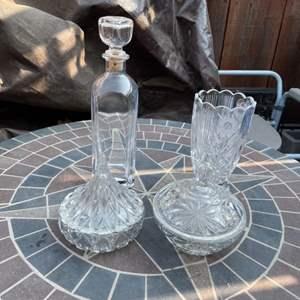 Lot # 90 - Vintage Candy Bowls and Vase/Glass Liquor Decantar