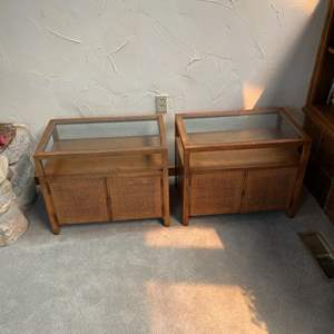 Lot # 3 - Two matching Mid Century End Tables with glass tops