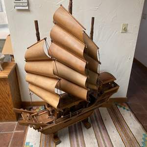 Lot # 15 - Large wooden boat model with wooden sails