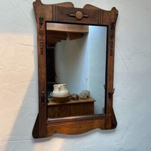 Lot # 17 - Vintage hall coat rack mirror