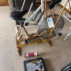 Lot # 77 - Exercise bike, stair stepper and weights
