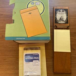 Lot # 105 - Manila envelopes, lined paper & holder