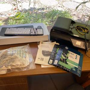 Lot # 109 - HP printer, keyboards, phones and extension cords