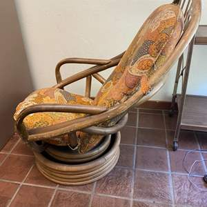 Lot # 110 -1970s Swivel Bentwood Lounge Chair With Cushions